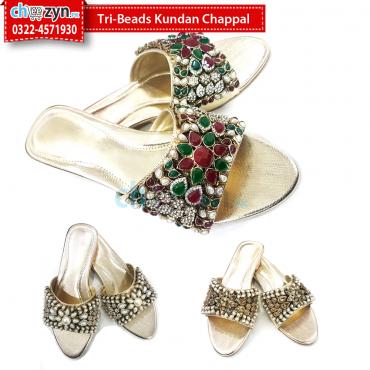 Tri-Beads Kundan Chappal