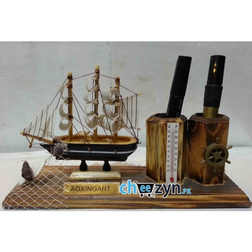 Hand Made Wooden Ship Model With Holder