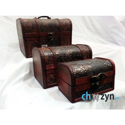 Antique Handmade Wooden Jewellery Box (1x3)