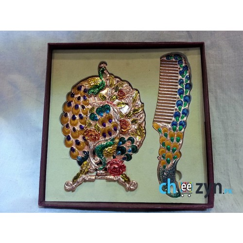Exclusive Peacock Folding Mirror Set