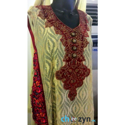 Special Edition 4 Piece Red Embroidery Chiffon Dress