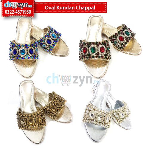 Oval Kundan Chappal