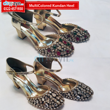 MultiColored Kundan Heel
