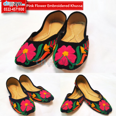 Pink Flower Embroidered Khussa