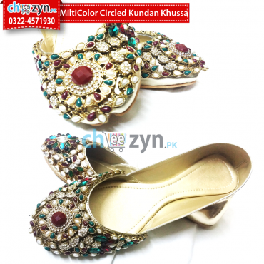 MultiColor Circled Kundan Khussa