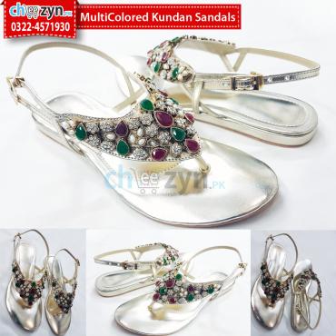 MultiColored Kundan Sandals