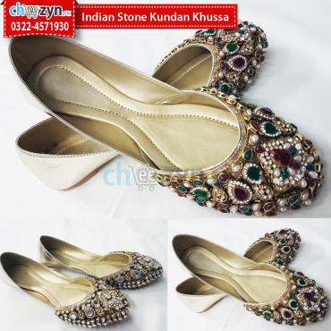 Indian Stone Kundan Khussa
