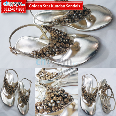 Golden Star Kundan Sandals