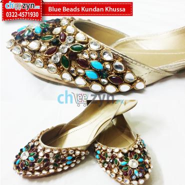 Blue Beads Kundan Khussa