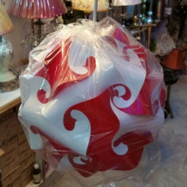 Red and White Round Lamp