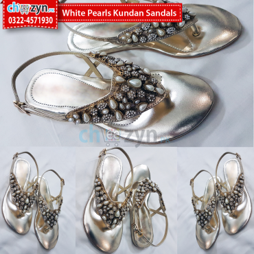 White Pearls Kundan Sandals