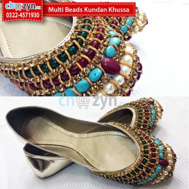 Multi Beads Kundan Khussa