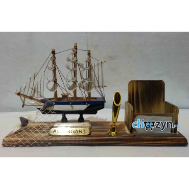 Hand Made Wooden Ship Model With Pen & Mobile Holder
