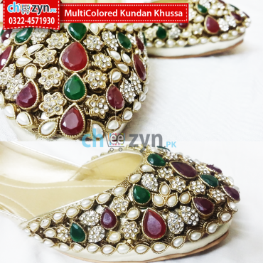 MultiColored Kundan Khussa