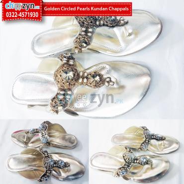 Golden Circled Pearls Kundan Chappals
