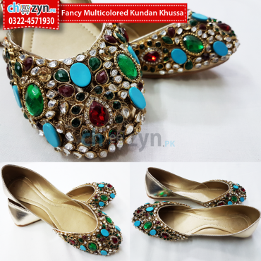Fancy MultiColored Kundan Khussa