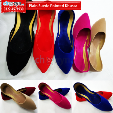 Plain Suede Pointed Khussa